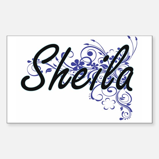 Sheila Artistic Name Design with Flowers Decal