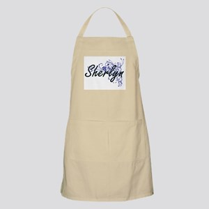 Sherlyn Artistic Name Design with Flowers Apron