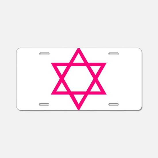 Pink Star of David Aluminum License Plate