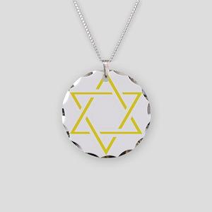 Yellow Star of David Necklace Circle Charm