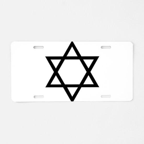 Black Star of David Aluminum License Plate