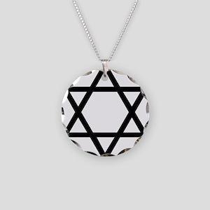 Black Star of David Necklace Circle Charm