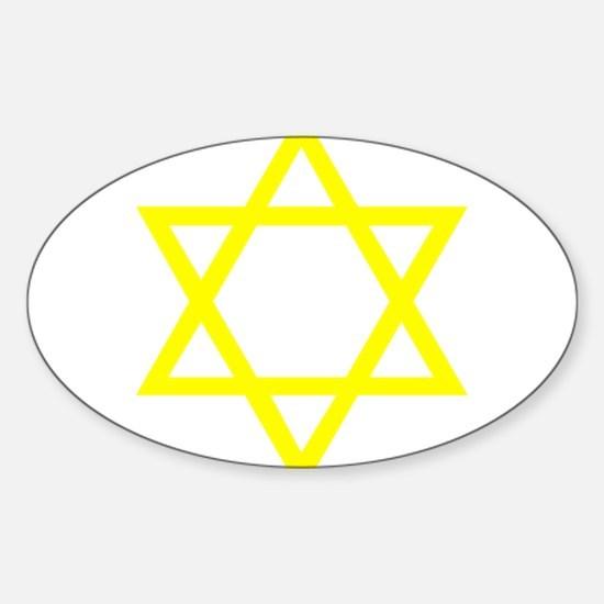 Yellow Star of David Sticker (Oval)
