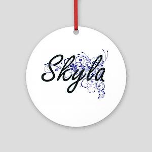 Skyla Artistic Name Design with Flo Round Ornament