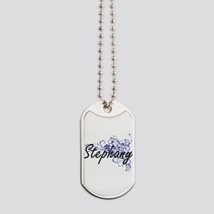 Stephany Artistic Name Design with Flower Dog Tags