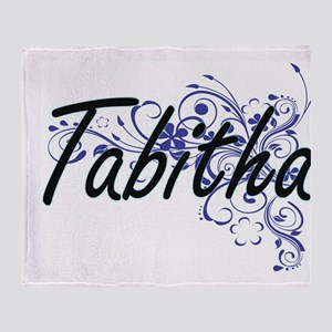 Tabitha Artistic Name Design with Fl Throw Blanket
