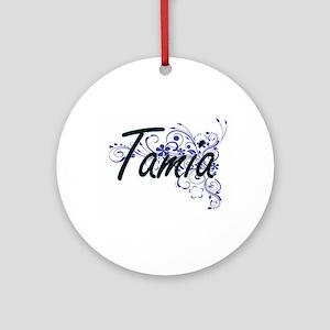 Tamia Artistic Name Design with Flo Round Ornament