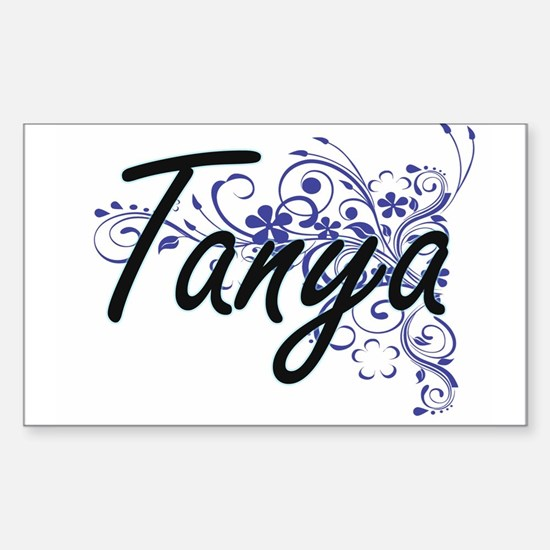 Tanya Artistic Name Design with Flowers Decal