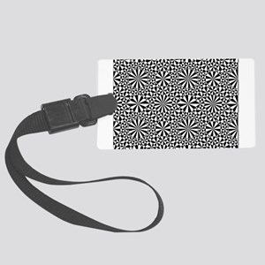 Black and White Geometric Patter Large Luggage Tag