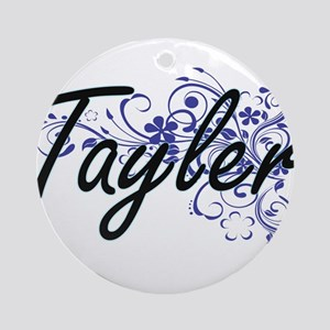 Tayler Artistic Name Design with Fl Round Ornament