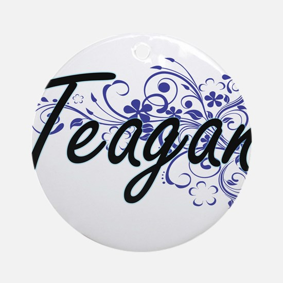 Teagan Artistic Name Design with Fl Round Ornament