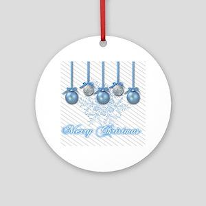 Blue and Silver Glitter Ornaments Round Ornament