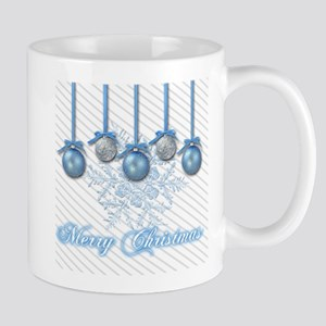 Blue and Silver Glitter Ornaments Mugs
