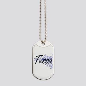 Tessa Artistic Name Design with Flowers Dog Tags
