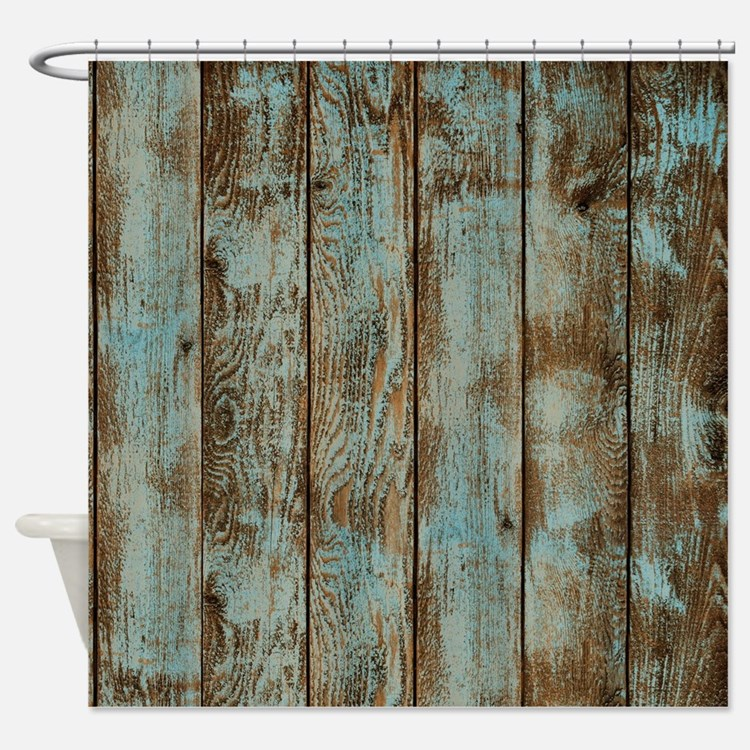 Slate Blue And Brown Shower Curtains