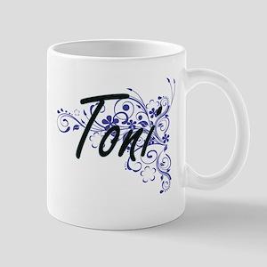 Toni Artistic Name Design with Flowers Mugs