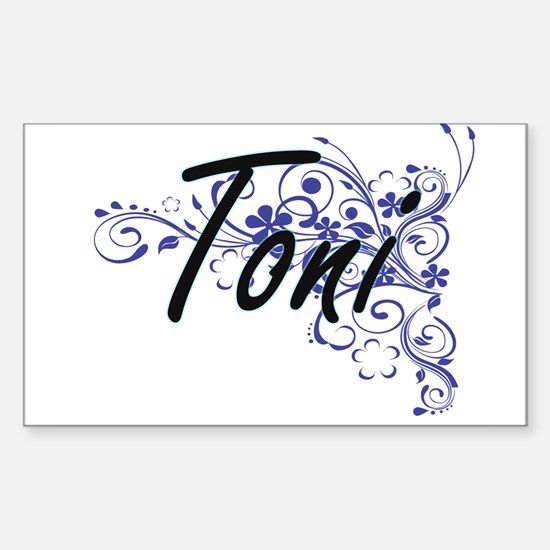 Toni Artistic Name Design with Flowers Decal