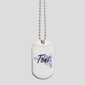 Toni Artistic Name Design with Flowers Dog Tags