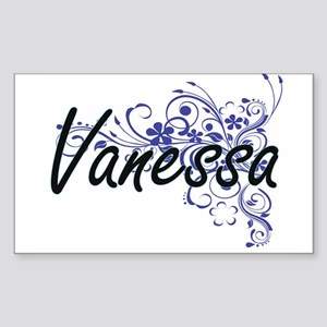 Vanessa Artistic Name Design with Flowers Sticker