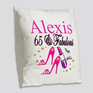 65 YEARS OLD Burlap Throw Pillow