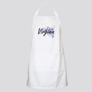 Virginia Artistic Name Design with Flowers Apron