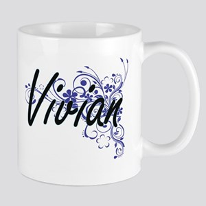 Vivian Artistic Name Design with Flowers Mugs