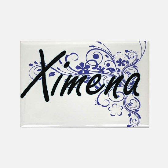 Ximena Artistic Name Design with Flowers Magnets