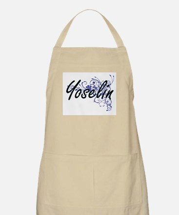 Yoselin Artistic Name Design with Flowers Apron