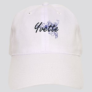 Yvette Artistic Name Design with Flowers Cap