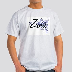 Zara Artistic Name Design with Flowers T-Shirt