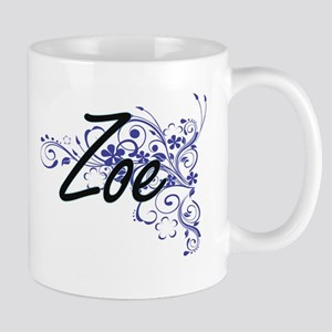 Zoe Artistic Name Design with Flowers Mugs