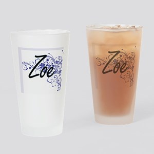 Zoe Artistic Name Design with Flowe Drinking Glass