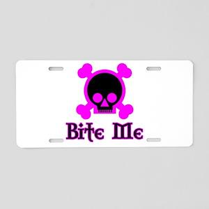 Bite Me Skull Magenta Aluminum License Plate