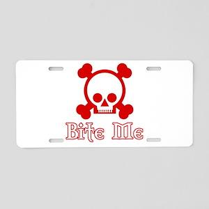 Bite Me Skull Red Aluminum License Plate