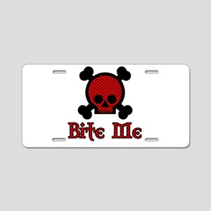 Bite Me Skull Red Star Aluminum License Plate