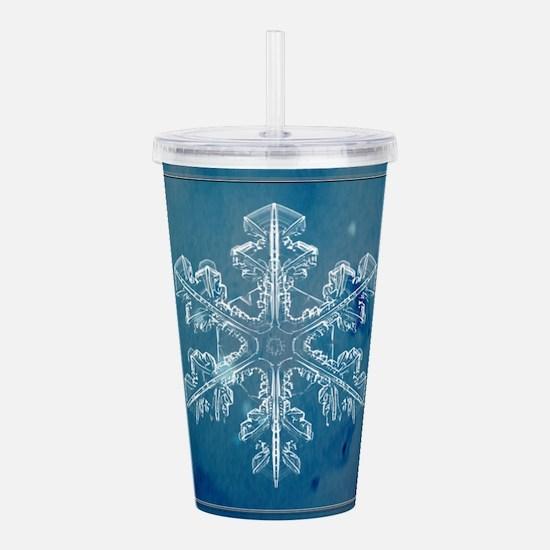 Blue Watercolor Snowfl Acrylic Double-wall Tumbler