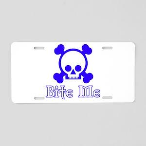 Bite Me Skull Blue Aluminum License Plate
