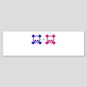 Blue & Pink Skull Sticker (Bumper)