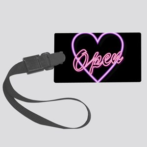 Neon Light Typography Heart Large Luggage Tag