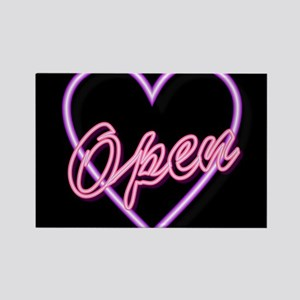 Neon Light Typography Heart Magnets