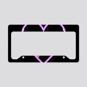 Neon Light Typography Heart License Plate Holder