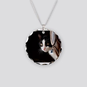 Black and White Cat Necklace Circle Charm