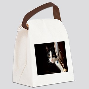 Black and White Cat Canvas Lunch Bag