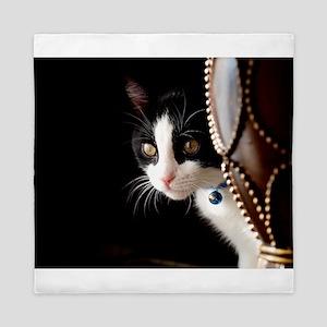 Black and White Cat Queen Duvet