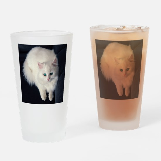 White Cat with Blue Eyes Drinking Glass