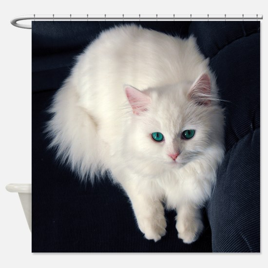 White Cat with Blue Eyes Shower Curtain