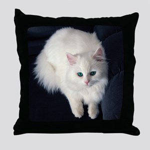 White Cat with Blue Eyes Throw Pillow