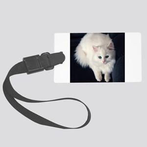 White Cat with Blue Eyes Large Luggage Tag