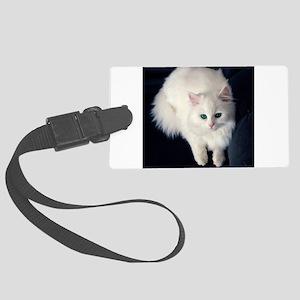 White Cat with Blue Eyes Large Luggage Tag