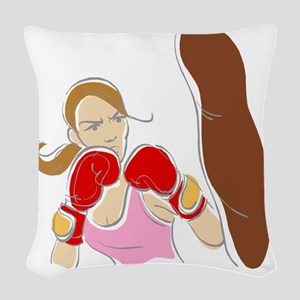 Angry Female Boxer Woven Throw Pillow